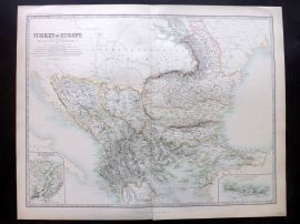 Johnston 1896 Large Antique Map. Turkey in Europe